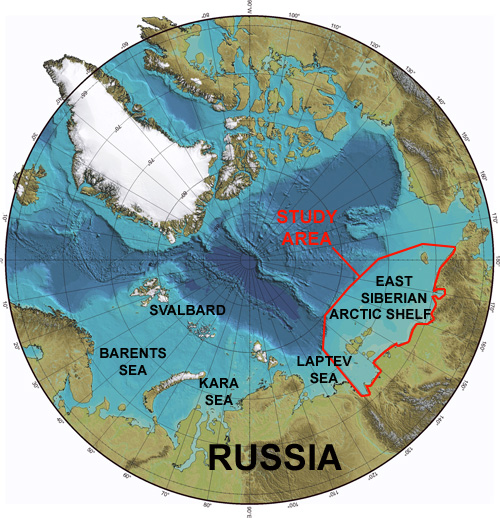 Map of the Arctic showing the East Siberian Shelf