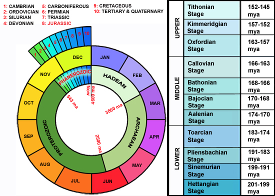 Geological timechart and details of the Jurassic Period