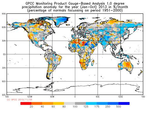 Graphic of Global Precipitation Anomaly: Jan-Oct 2013