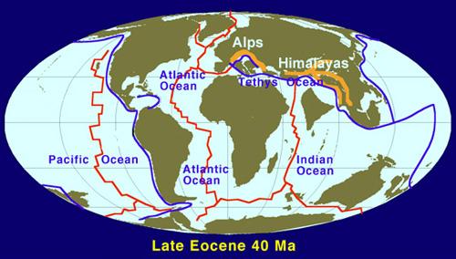 Paleoglobe from the late Eocene