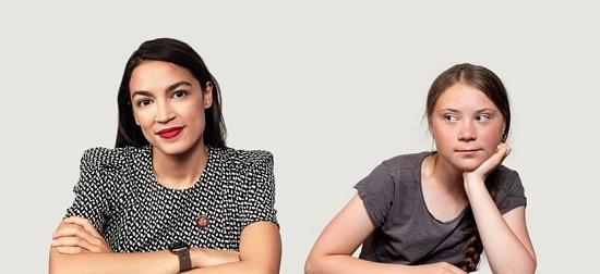 Alexandria Ocasio-Cortez and Greta Thunberg