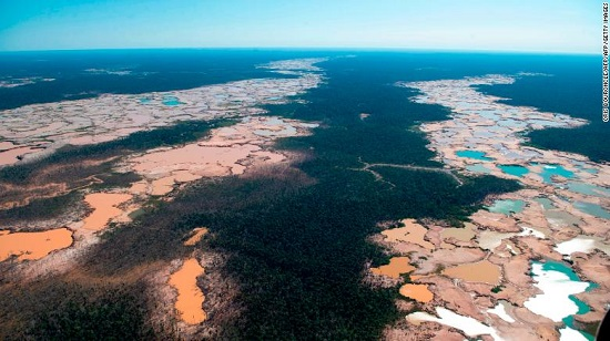 Amazon deforestation due to Illegal mining in activities in the river basin of the Madre de Dios region in southeast Peru, on May 17, 2019