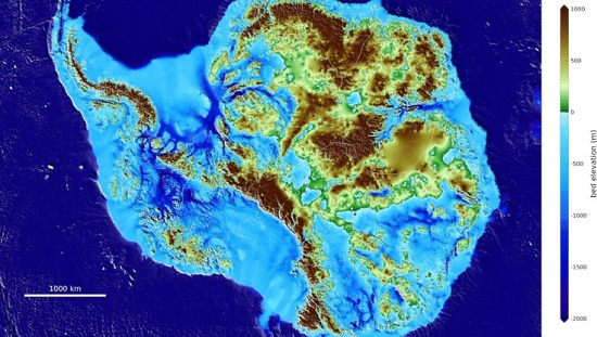 Antarctic Topographic Map BedMachine
