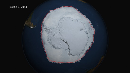 Antarctic Sea Ice Extent on Sep 19, 2014