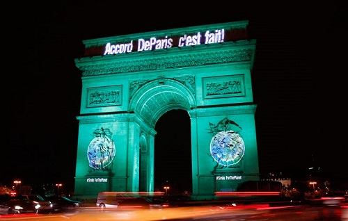 Arc de Triomphe celebrating Paris Climate Accord