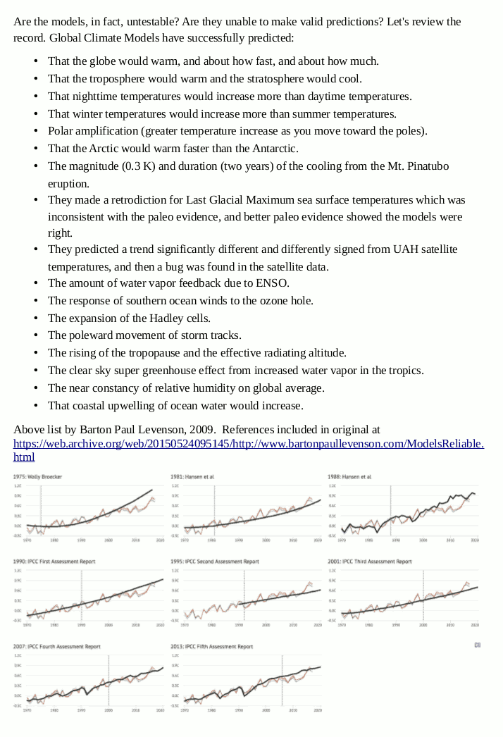 Reliability of climate models from CarbonBrief and Barton Paul Leveson