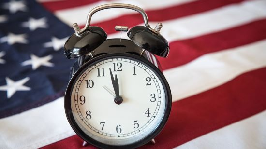 Alarm Clock and US Flag