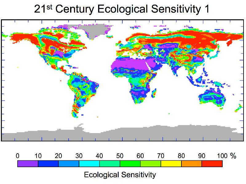 Nap of world showing ecological sensitivity as colored index