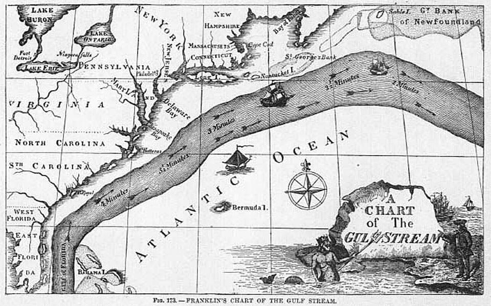 Map of Gulf Stream drawn by Benjamin Franklin.