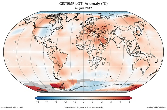 GISTEMP LOTI Anomaly Aug 2017