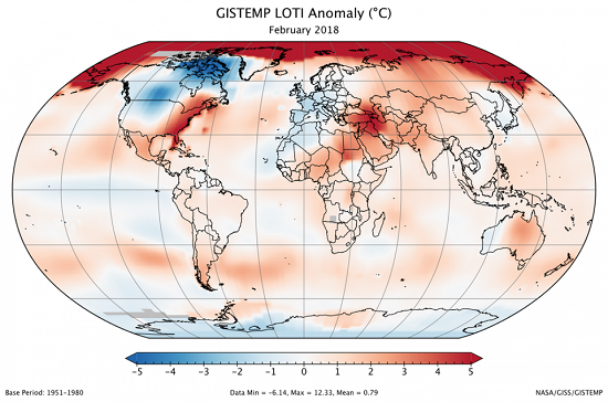 GISTEMP LOTI Anomaly Feb 2018