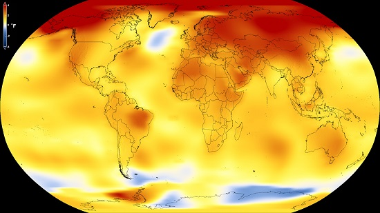 Global Temp Anomaly 2013 to 2017 NASA-GISS