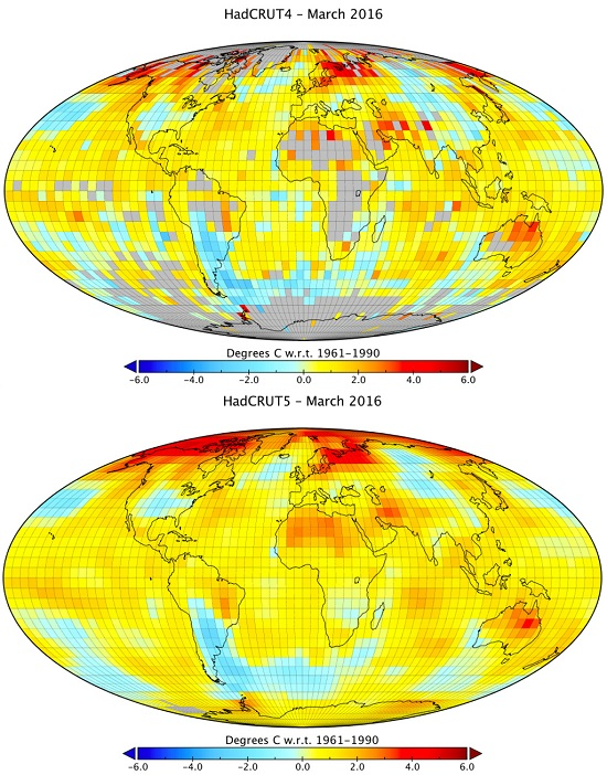 Gridded global surface temperatures in HadCRUT4 and HadCRUT5 analysis