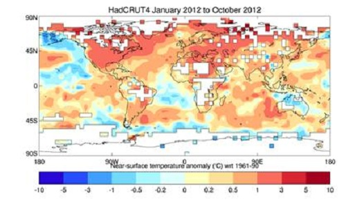 Graphic of Near-surface temperature anomaly using HadCRUT4 for Jan 2012 to Oct 2012