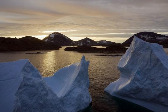 icebergs near Kulusuk, Greenland, on 08/16/2019