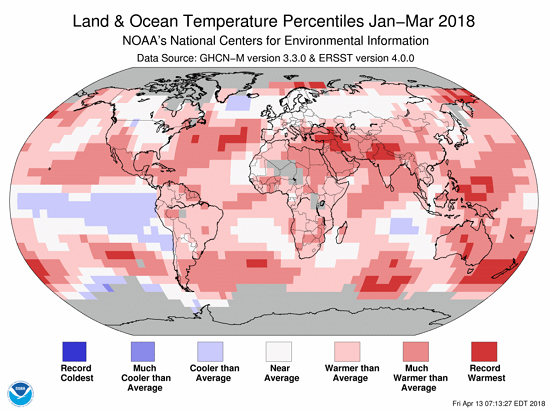 Jan-Mar 2018 Global Temp Percentiles NOAA