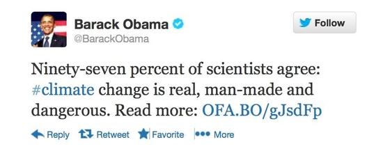 Screen shot of Obama's Tweet re TCP