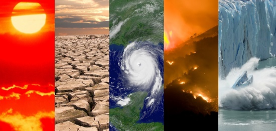 Photo collage-climate scenarios-global climate reports-NOAA