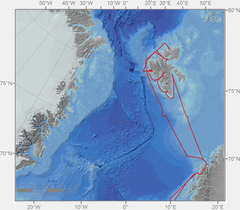 Graphic of the  Route of the RV Heincke to Spitzbergen