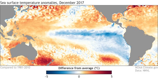 Sea Surface Temp Anomalies Dec 2017 NOAA