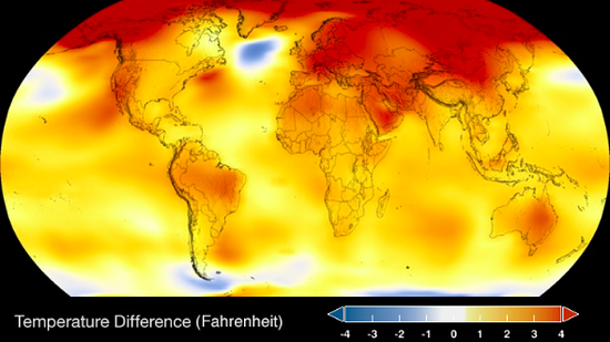 Temperature Differences Fahrenheit NASA