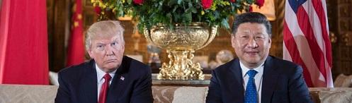 US Pres Donald Trump (L) & Chinese Pres Xi Jinping (R)