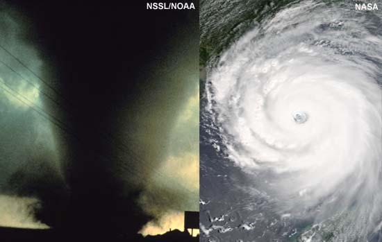 apparent tornado (L); apparent hurricane (R)