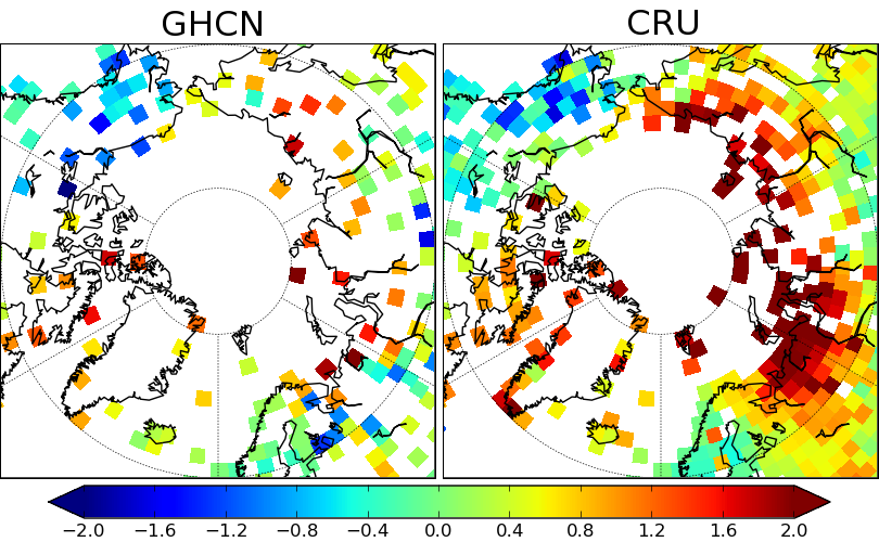 Figure 3: Station coverage and trends for the GHCN adjusted and CRU data