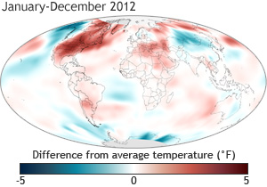 Graphic of Global Surface Temperature Anomaly 2012 - NOAA
