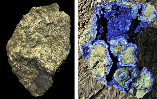 primary chalcopyrite (L) and secondary azurite (R)