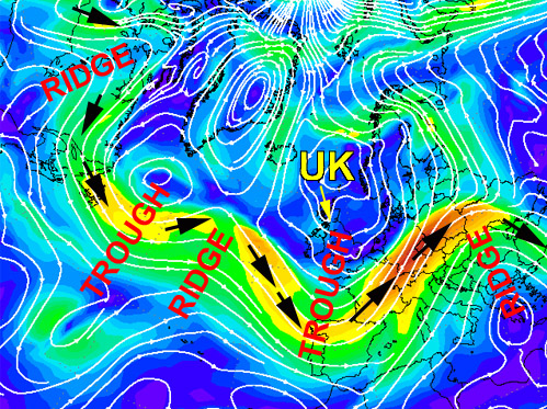 North Altantic 300hPa chart showing the jetstream and upper ridges/troughs