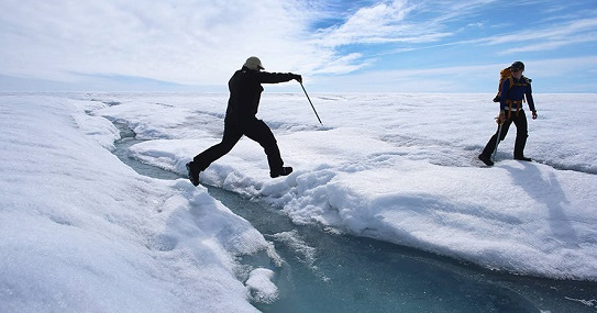 Scientists on Greenland ice sheet