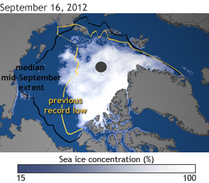 Satellite image of Arctic Sea Ice - Sep 16, 2012