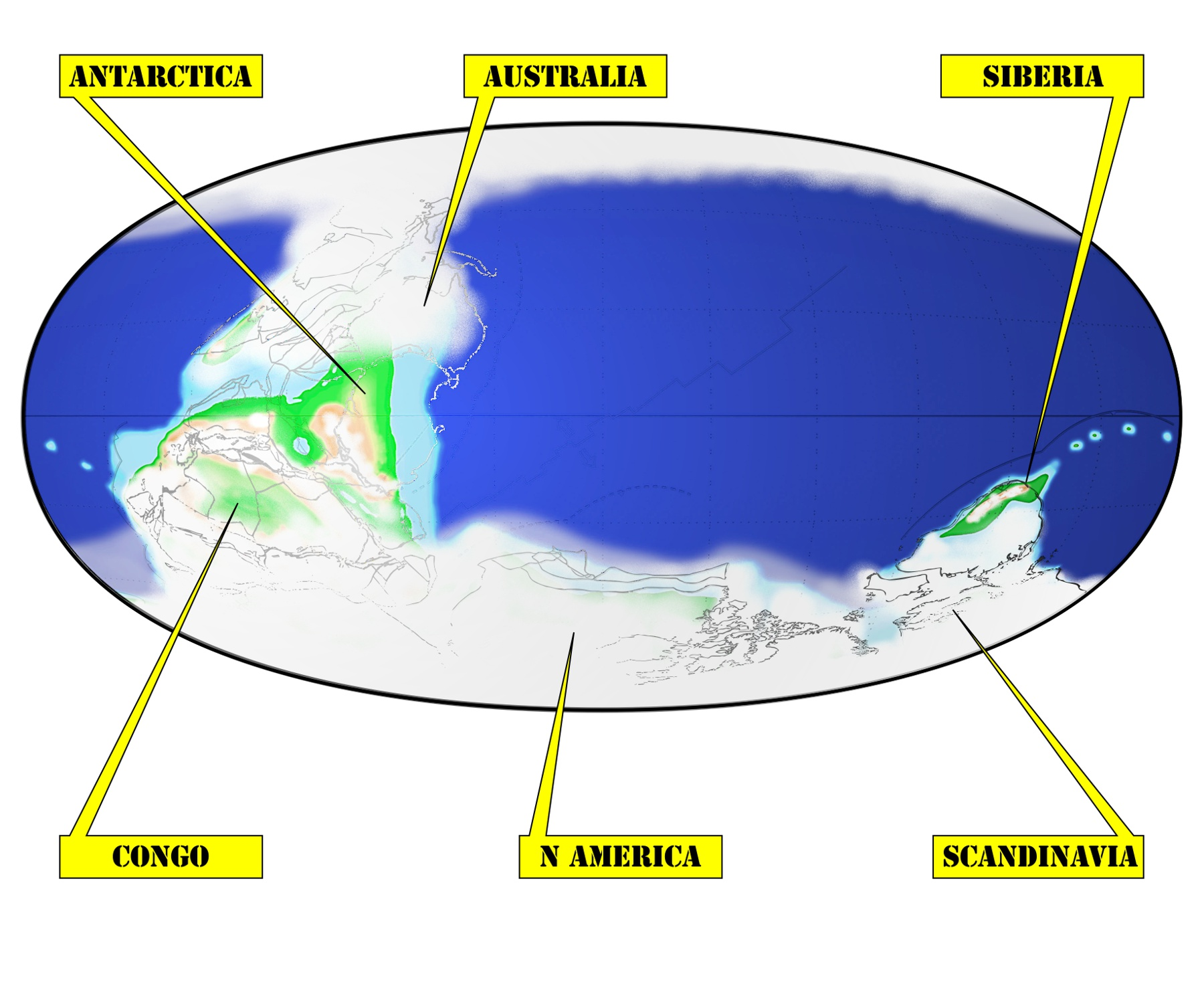 """Map of """"Snowball Earth"""" about 640 million years ago. Modified with permission from  Scotese 2009"""